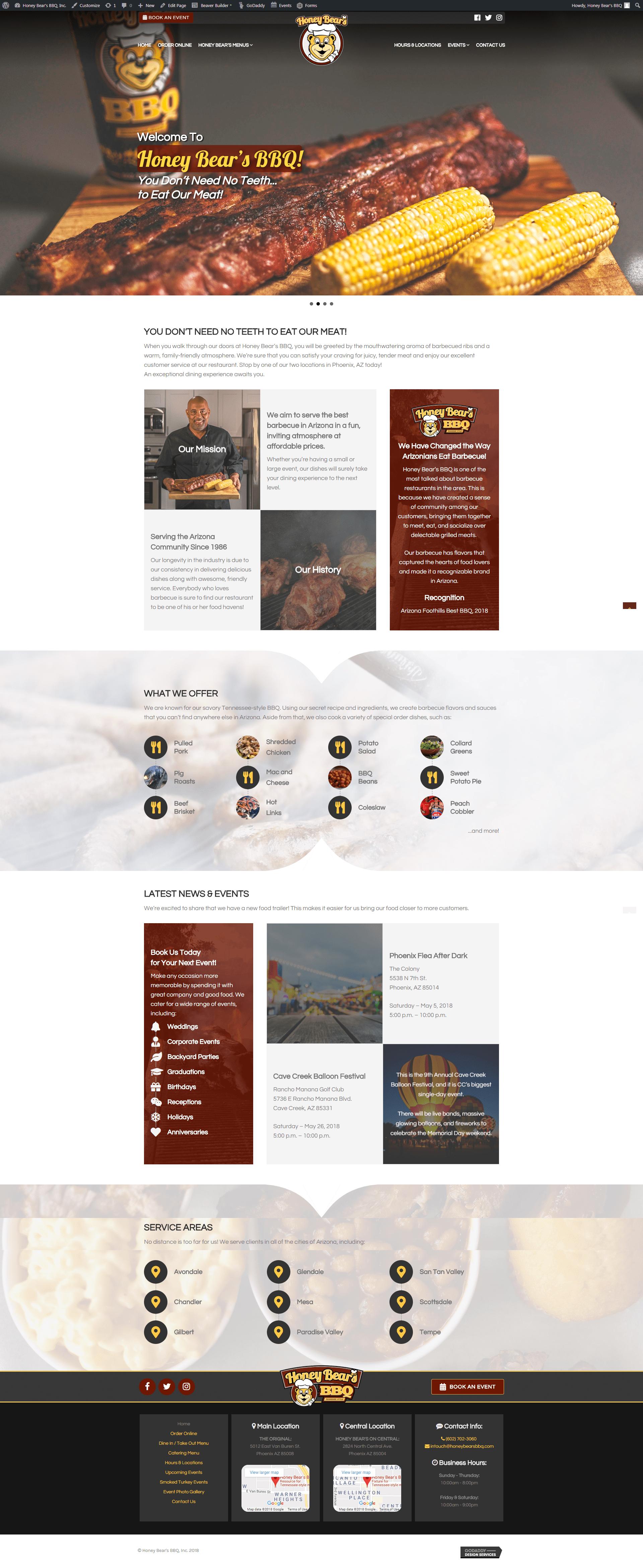 Honey Bear's BBQ, Inc. - new site - wp