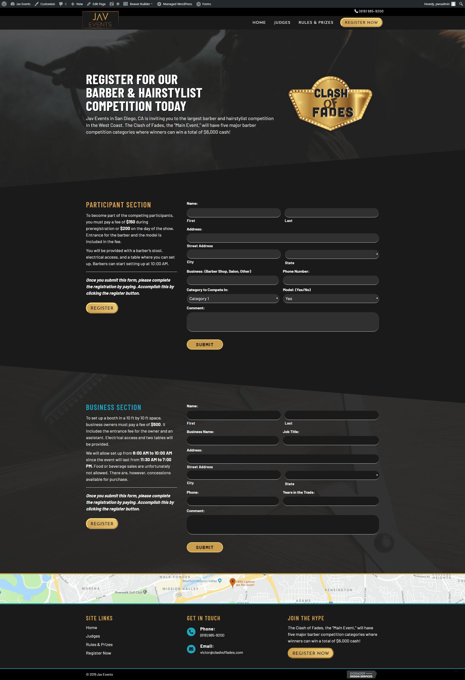 jav events hair site - register