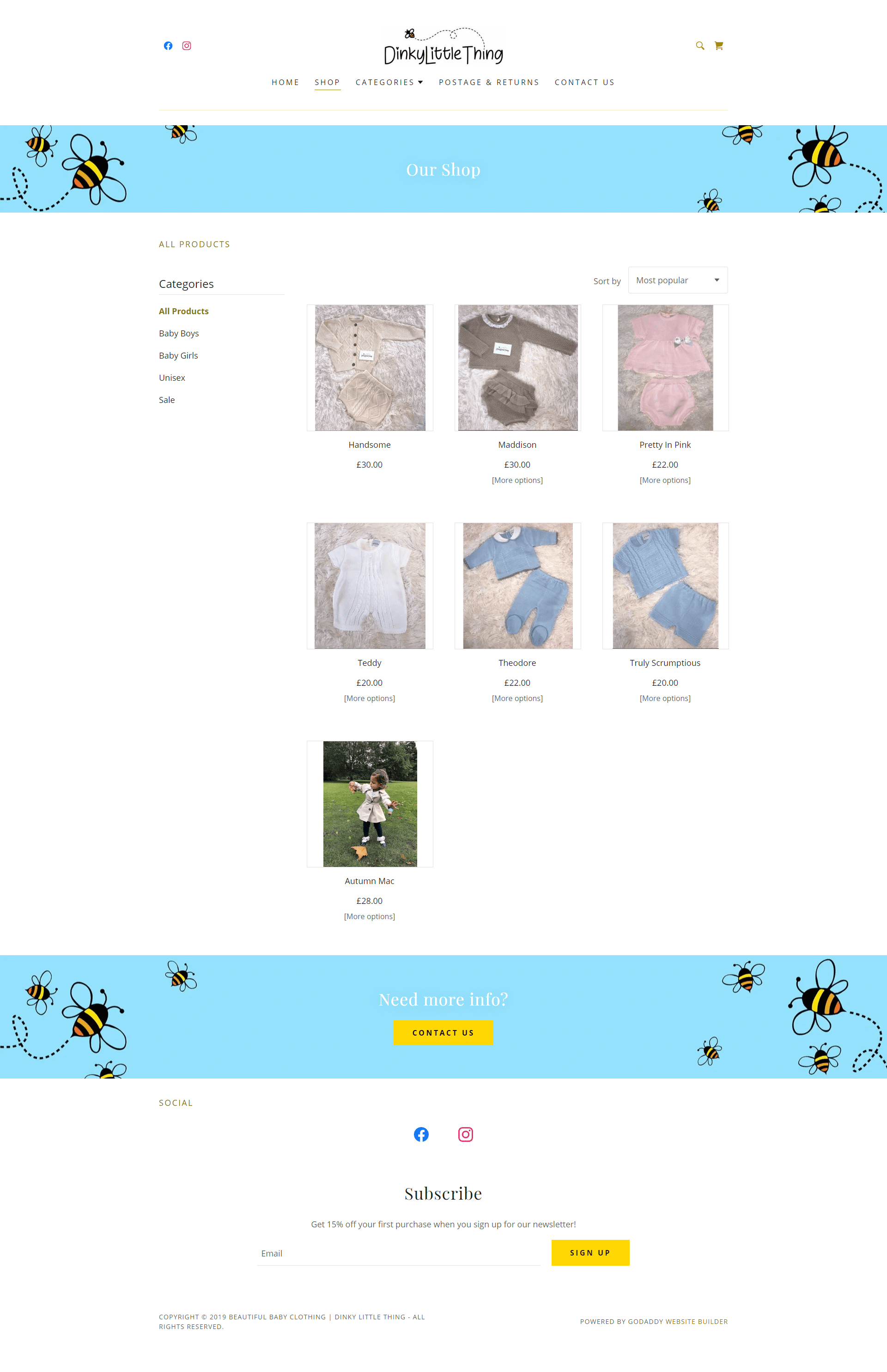 Dinky Little Thing Shop Page