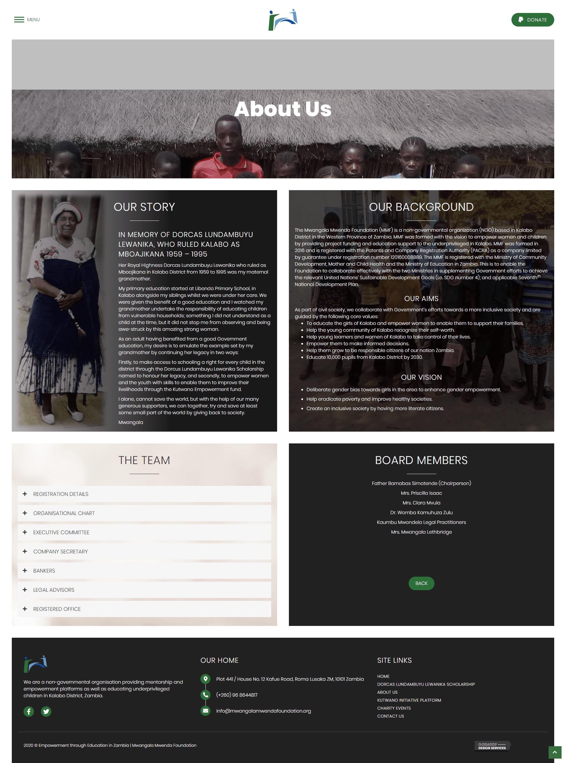 Mwangala Mwenda Foundation About Us Page