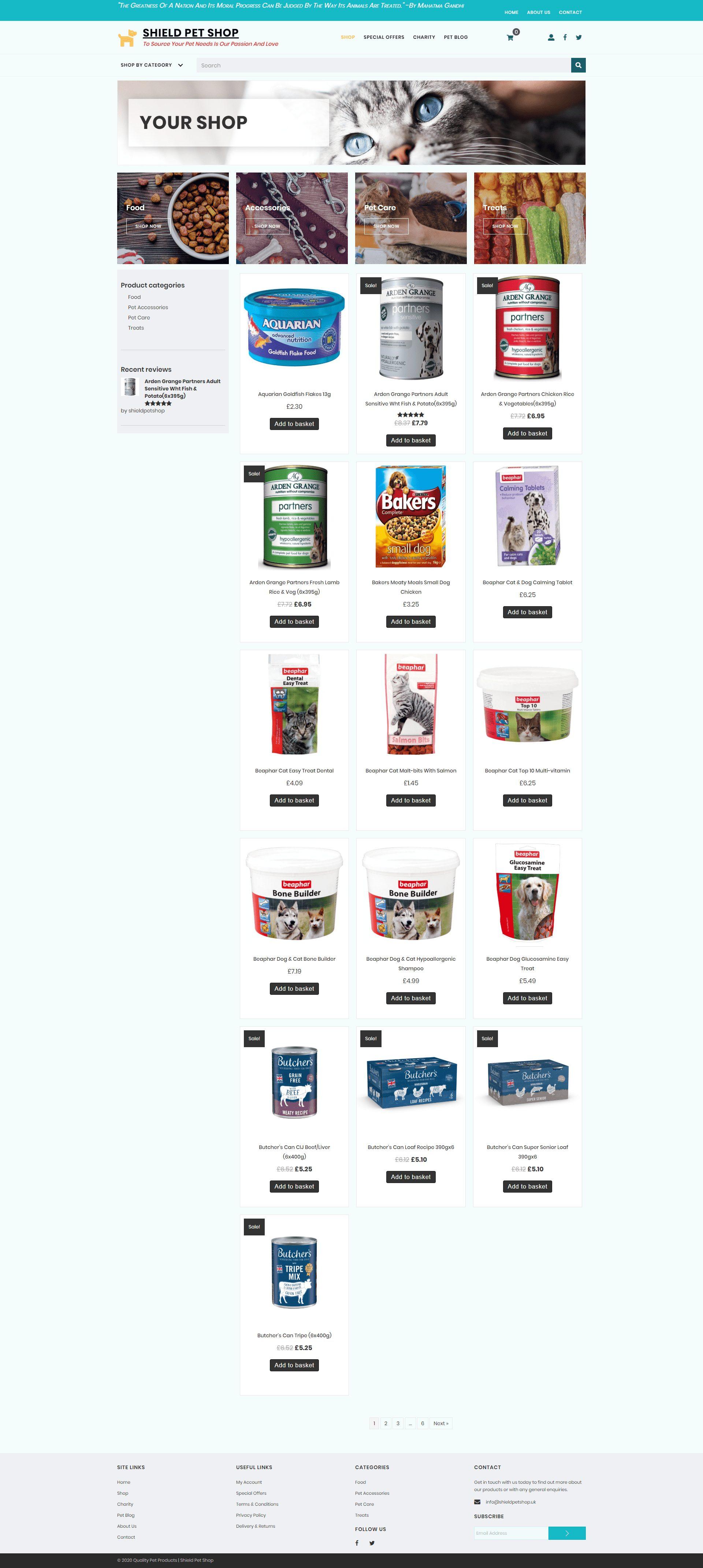 Shield Pet Shop Store Page