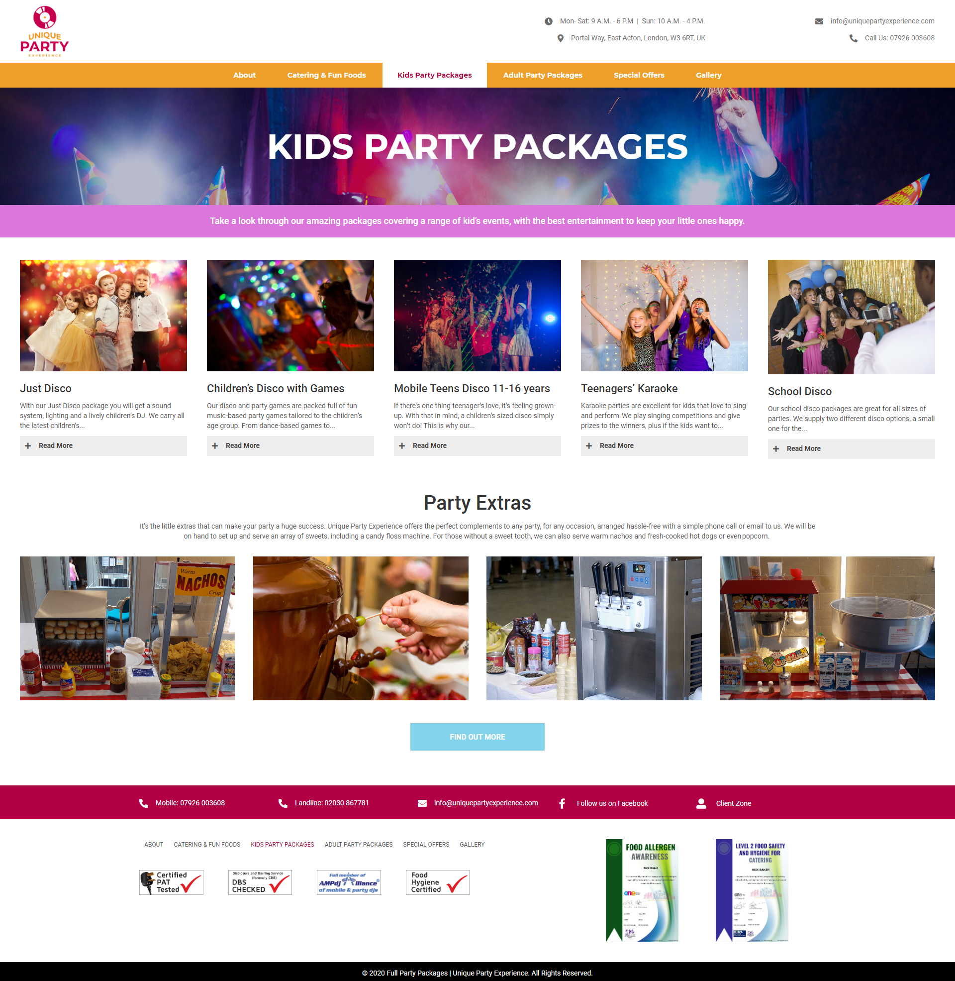 Unique Party Experience Service Page -Kids Parties