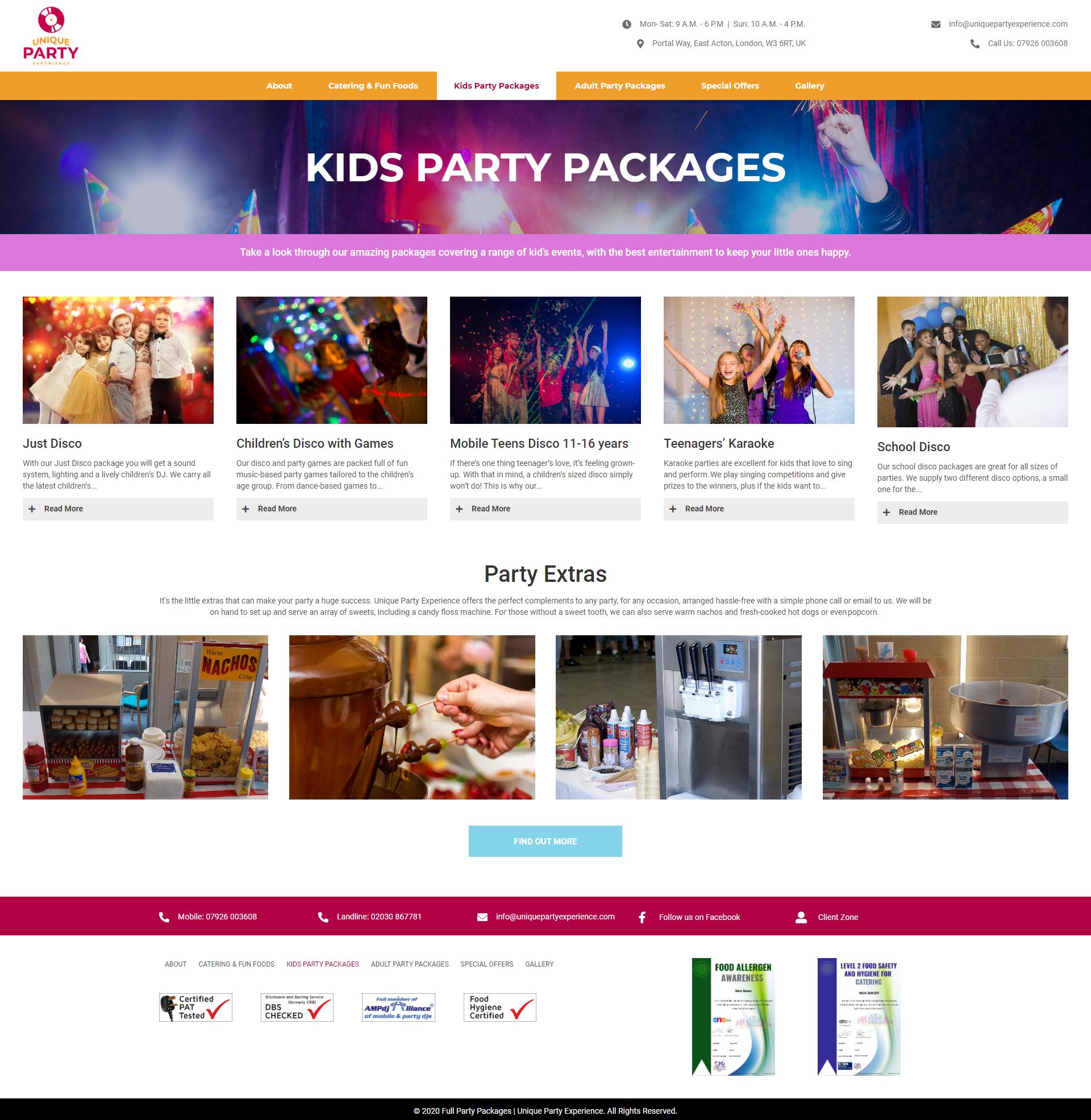 Unique Party Experience Service Page -Kids Parties
