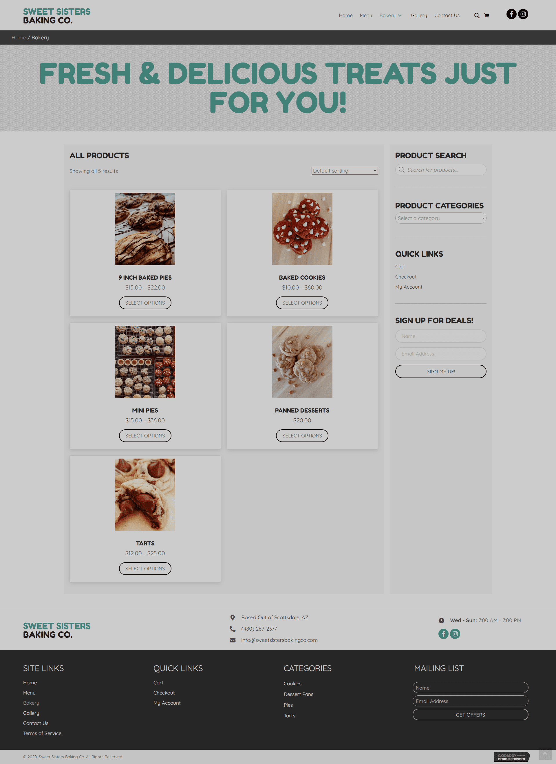 Sweet Sisters Baking Co Shop Page
