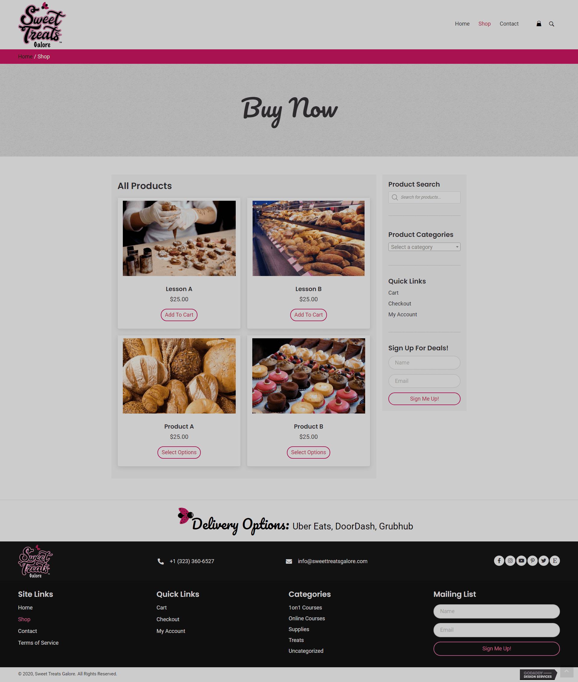 Sweet Treats Galore Shop Page