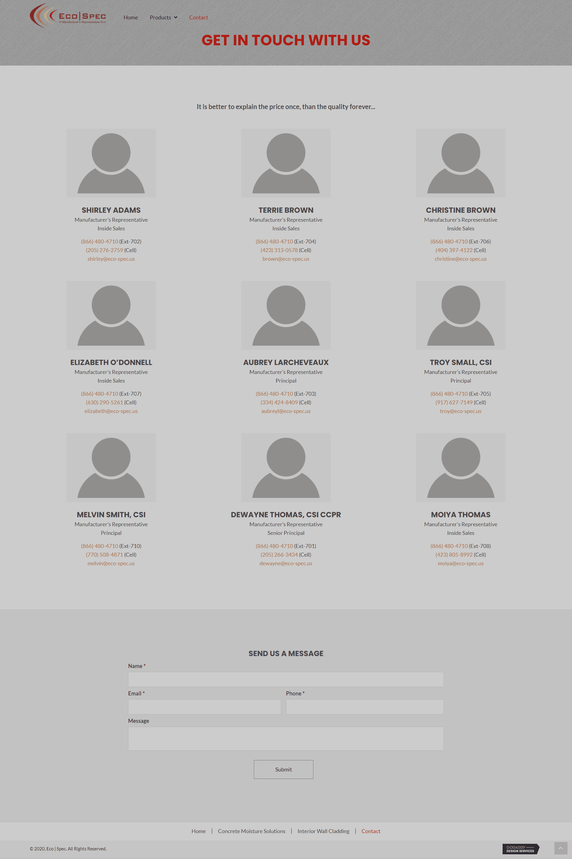 Eco Spec Contact Page