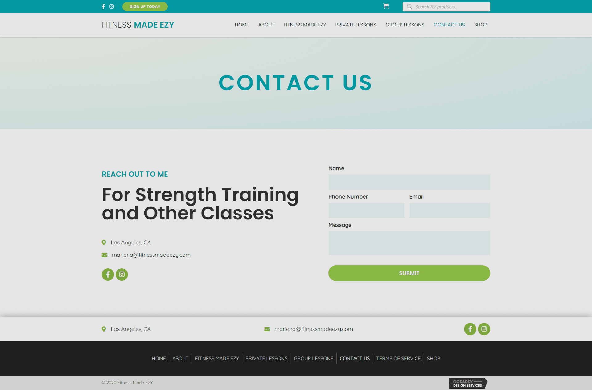 Fitness Made EZY Contact Page