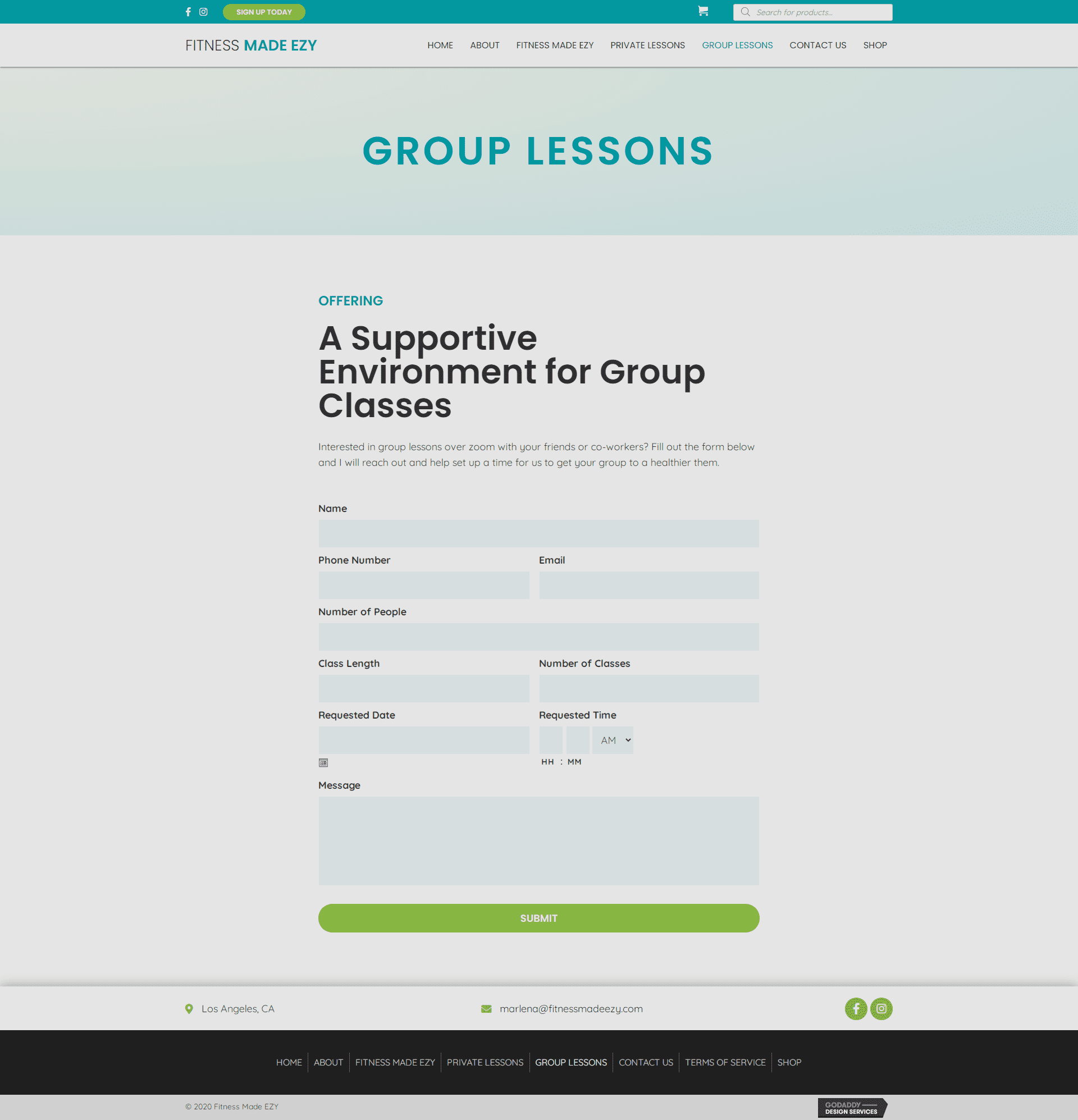 Fitness Made EZY Group Lessons Page