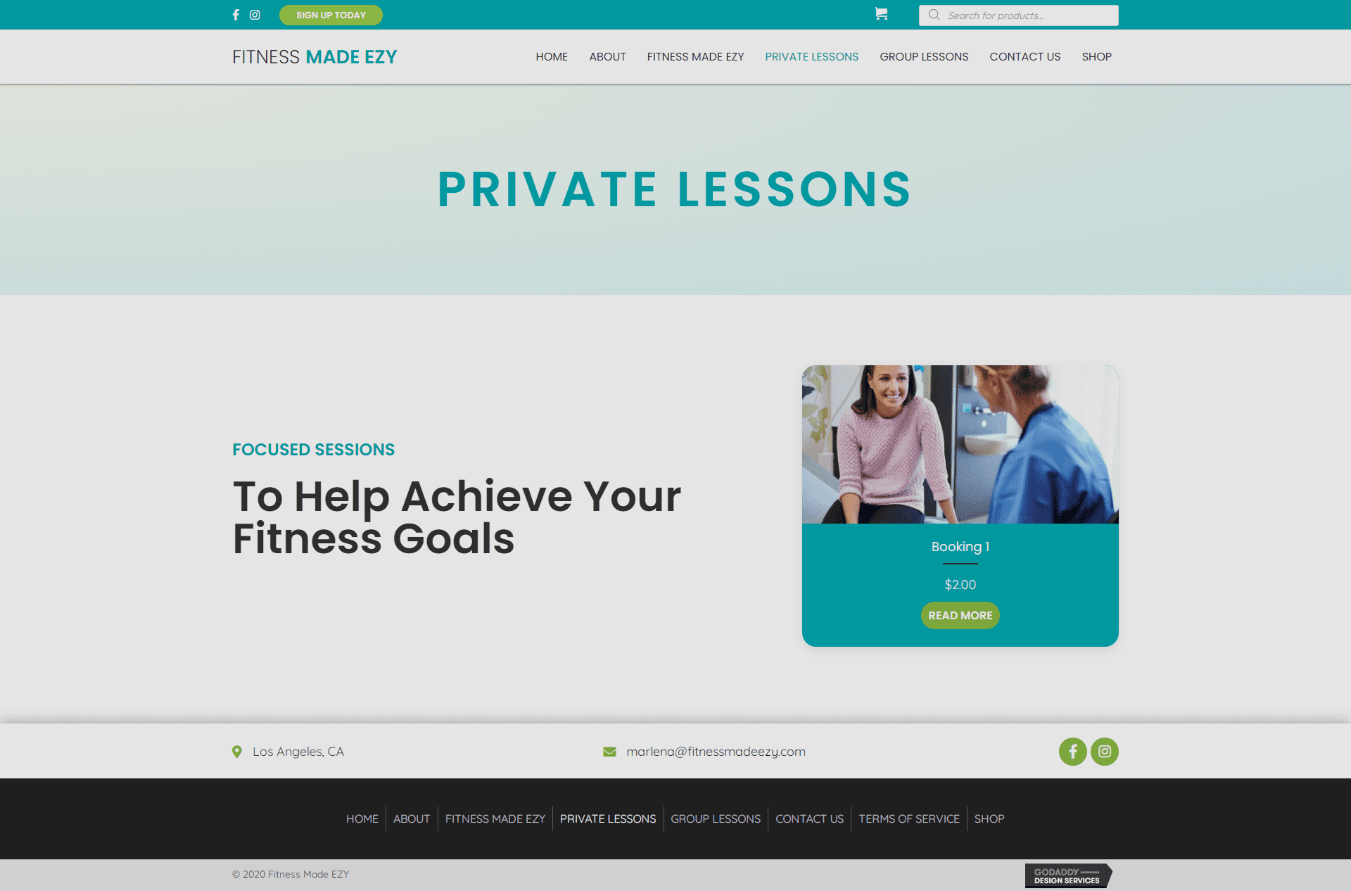 Fitness Made EZY Private Lessons Page