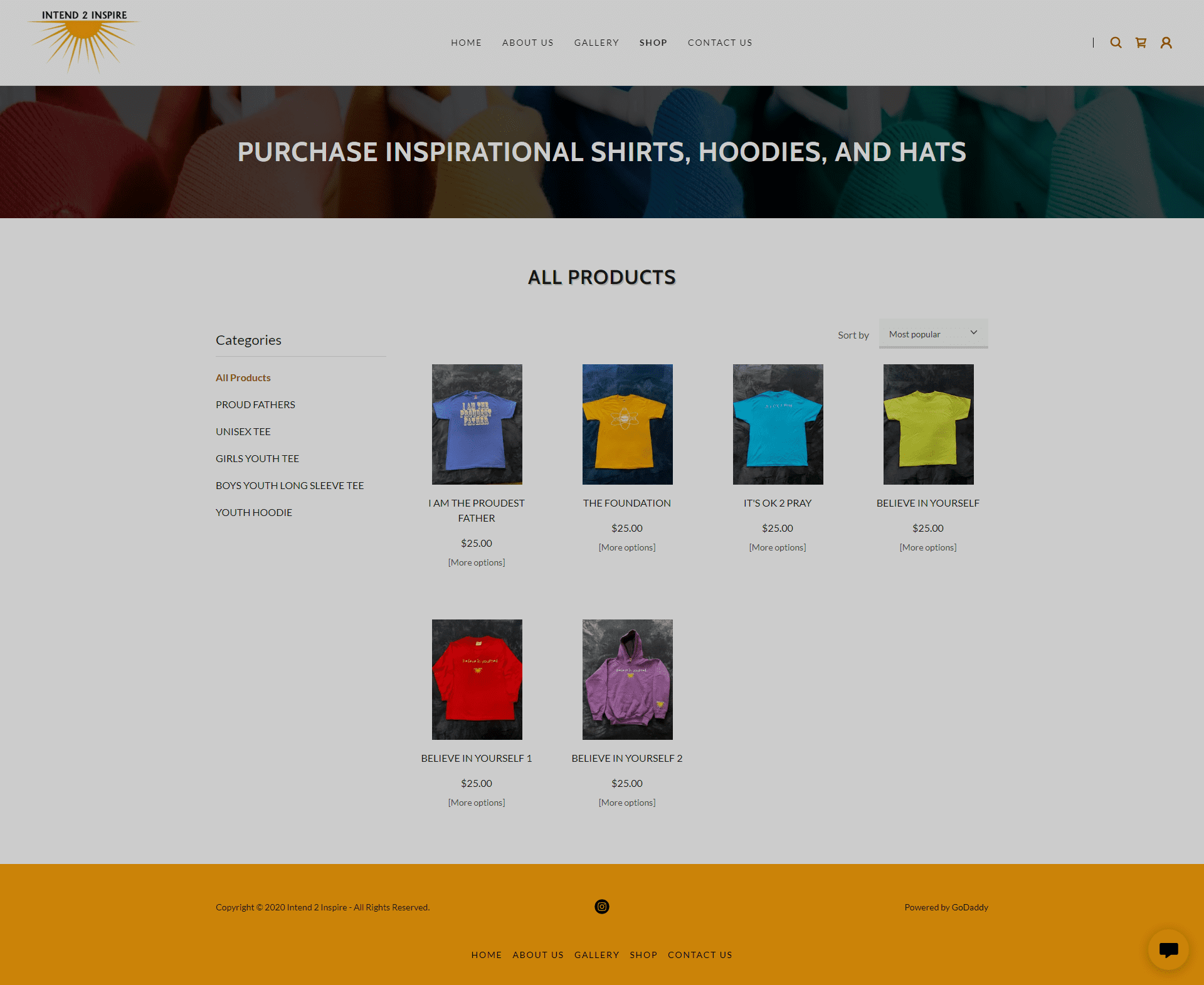 Intend 2 Inspire Shop Page