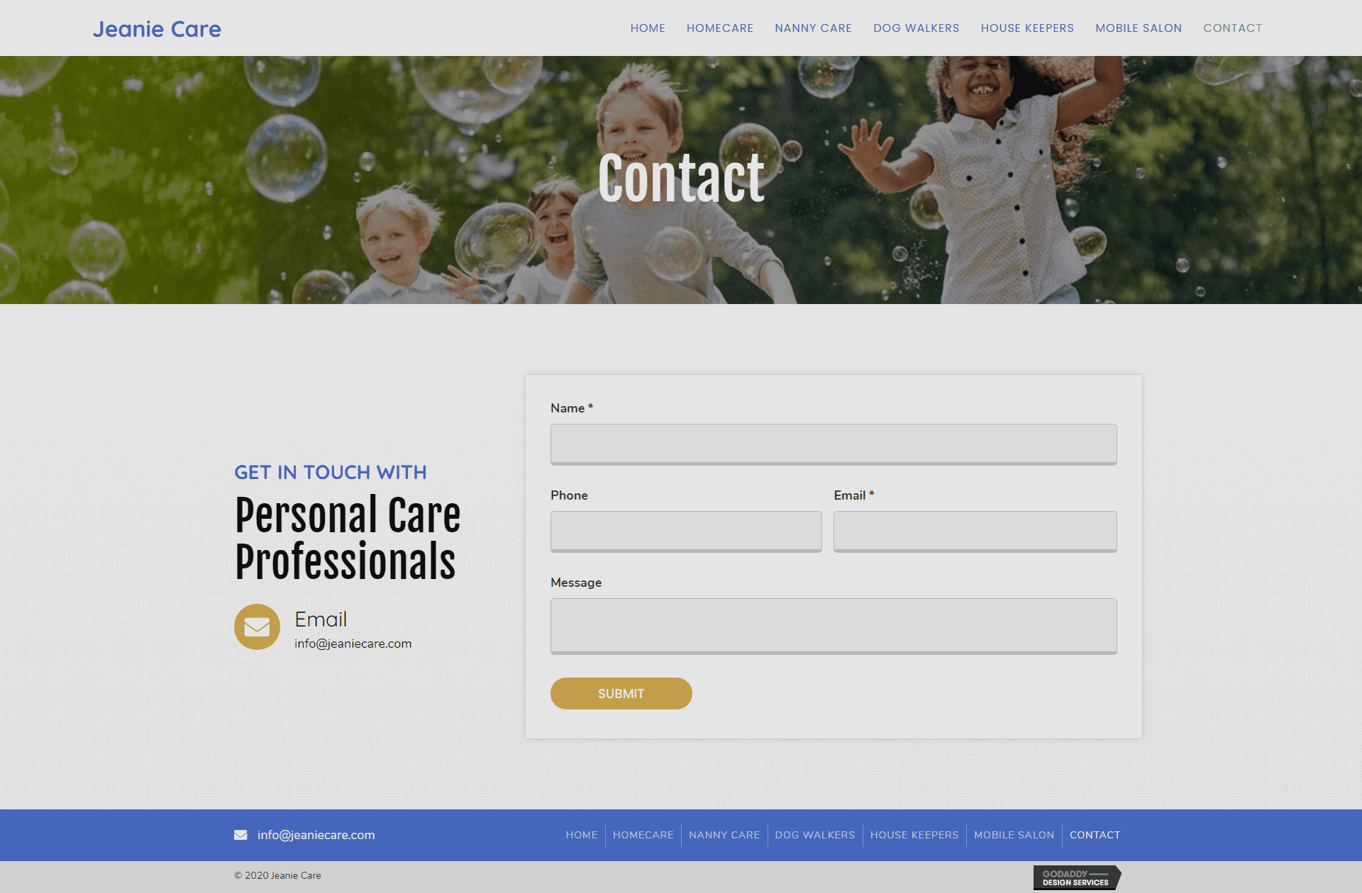 Jeanie Care Contact Page