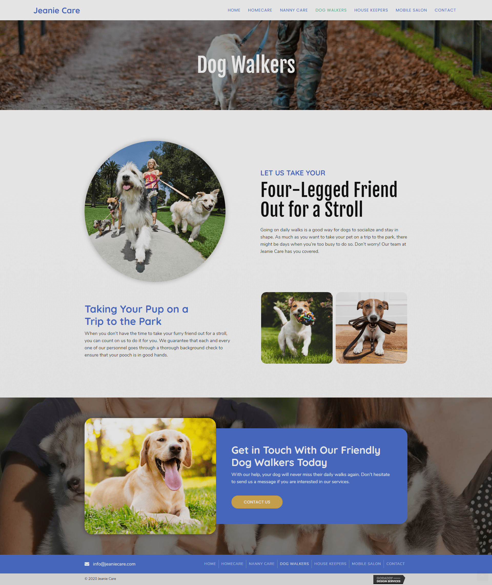 Jeanie Care Dog Walkers Page
