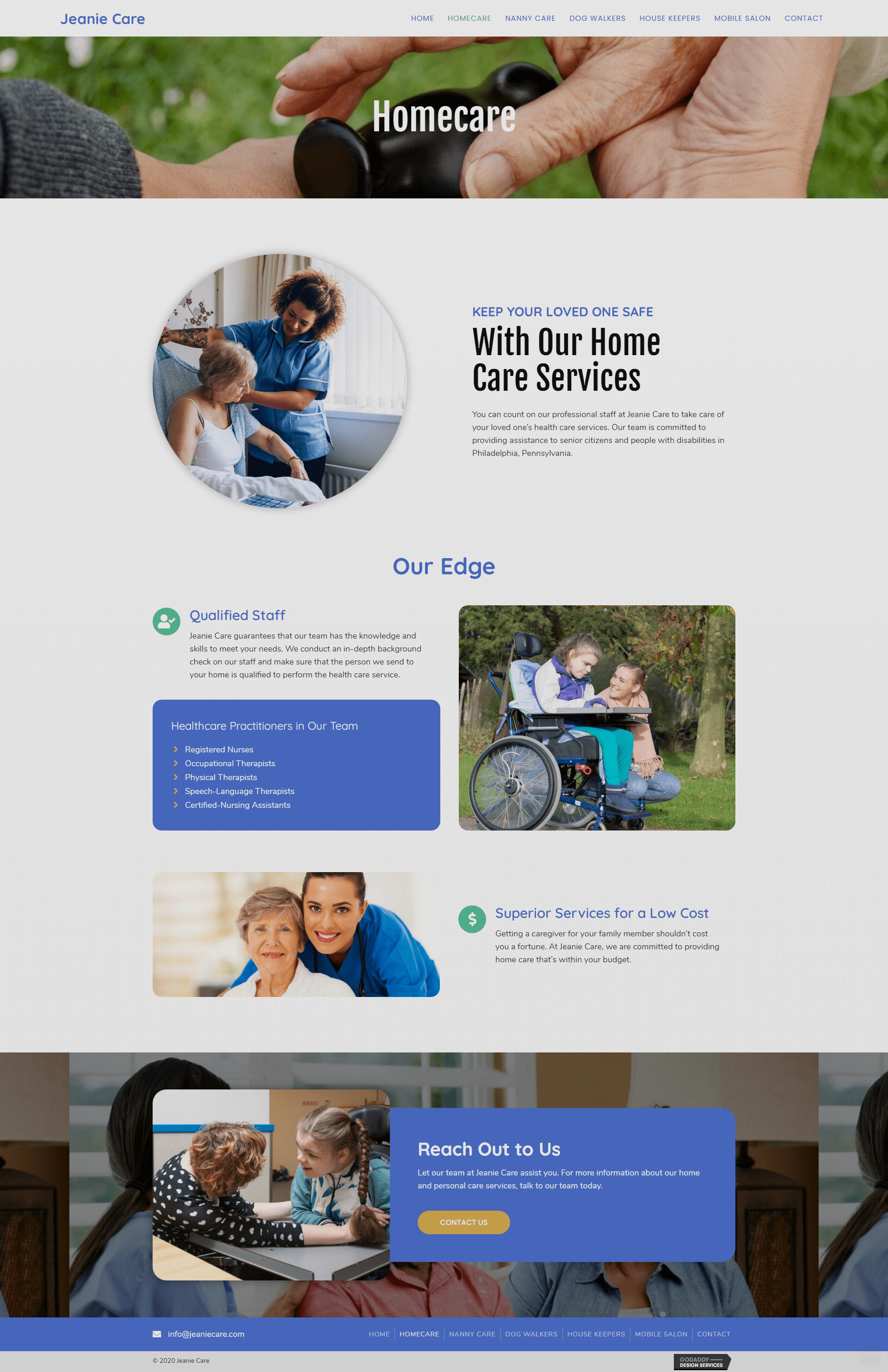 Jeanie Care Home Care page