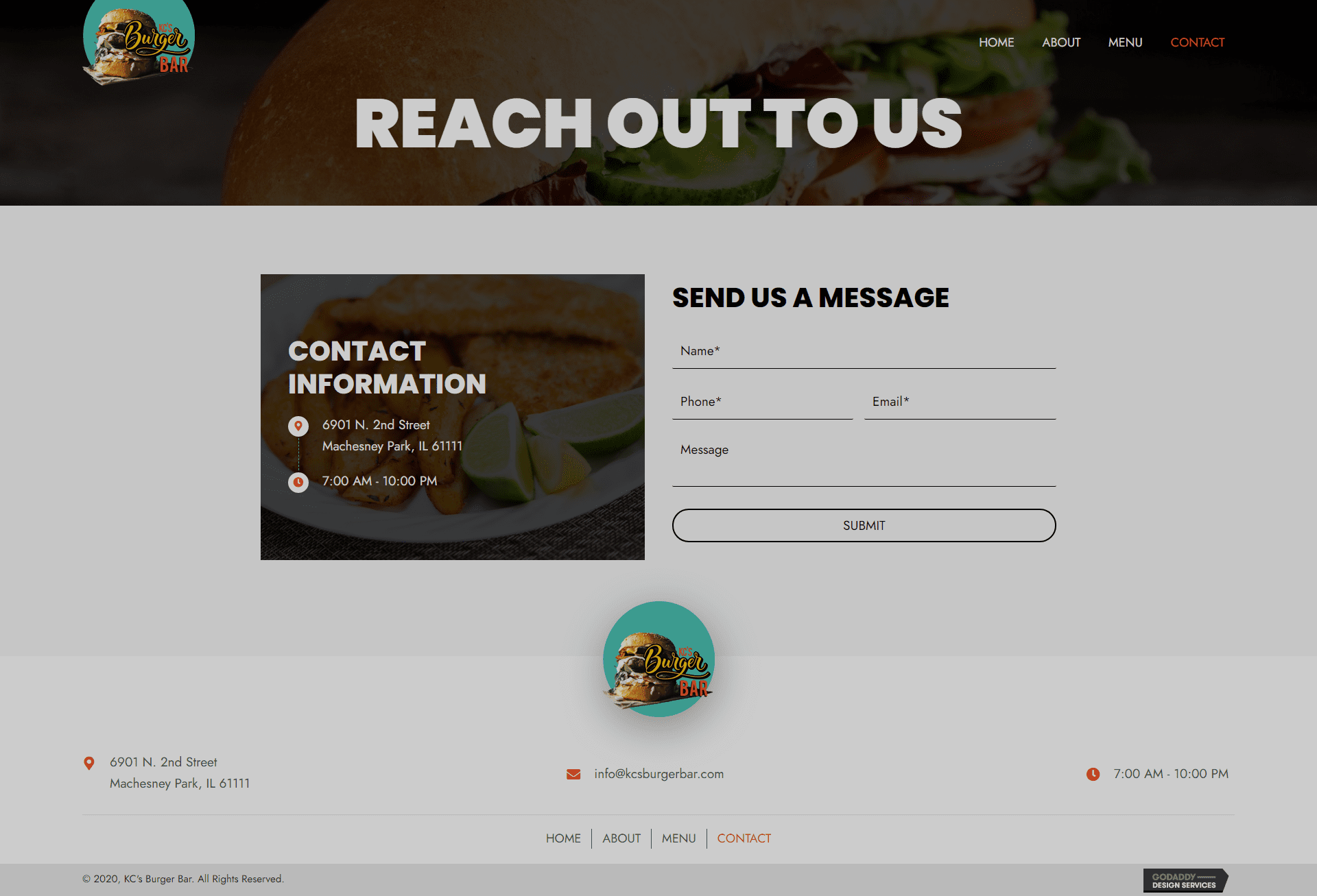 KC's Burger Bar Contact Page