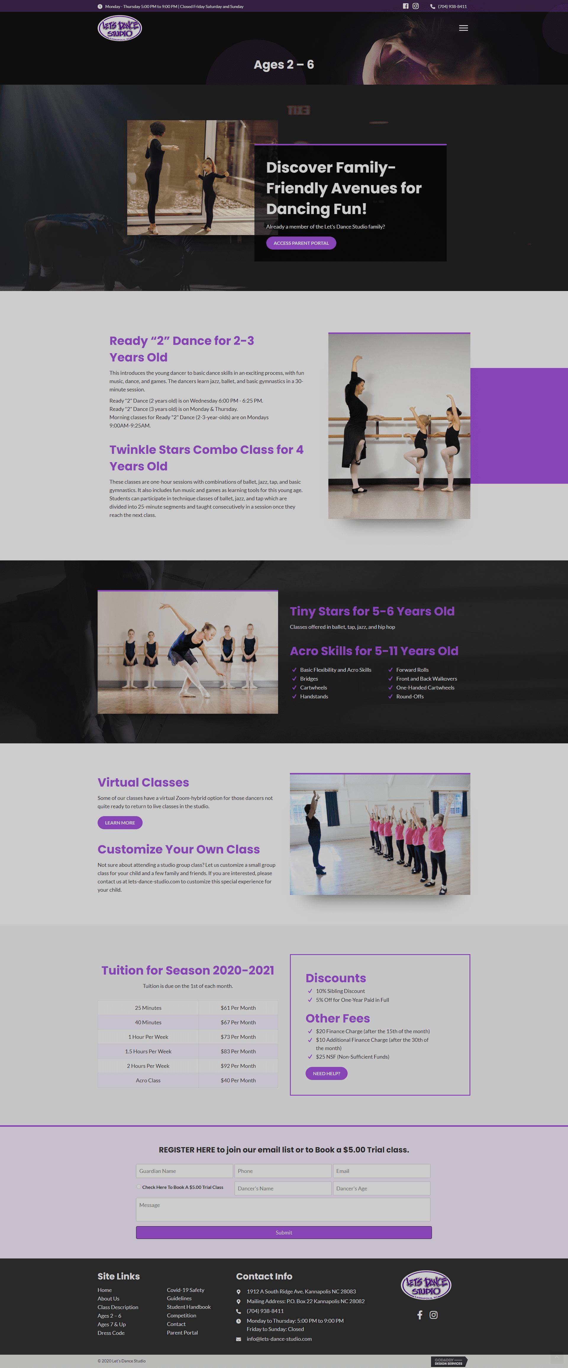 Let's Dance Studio Ages 2-6 Page