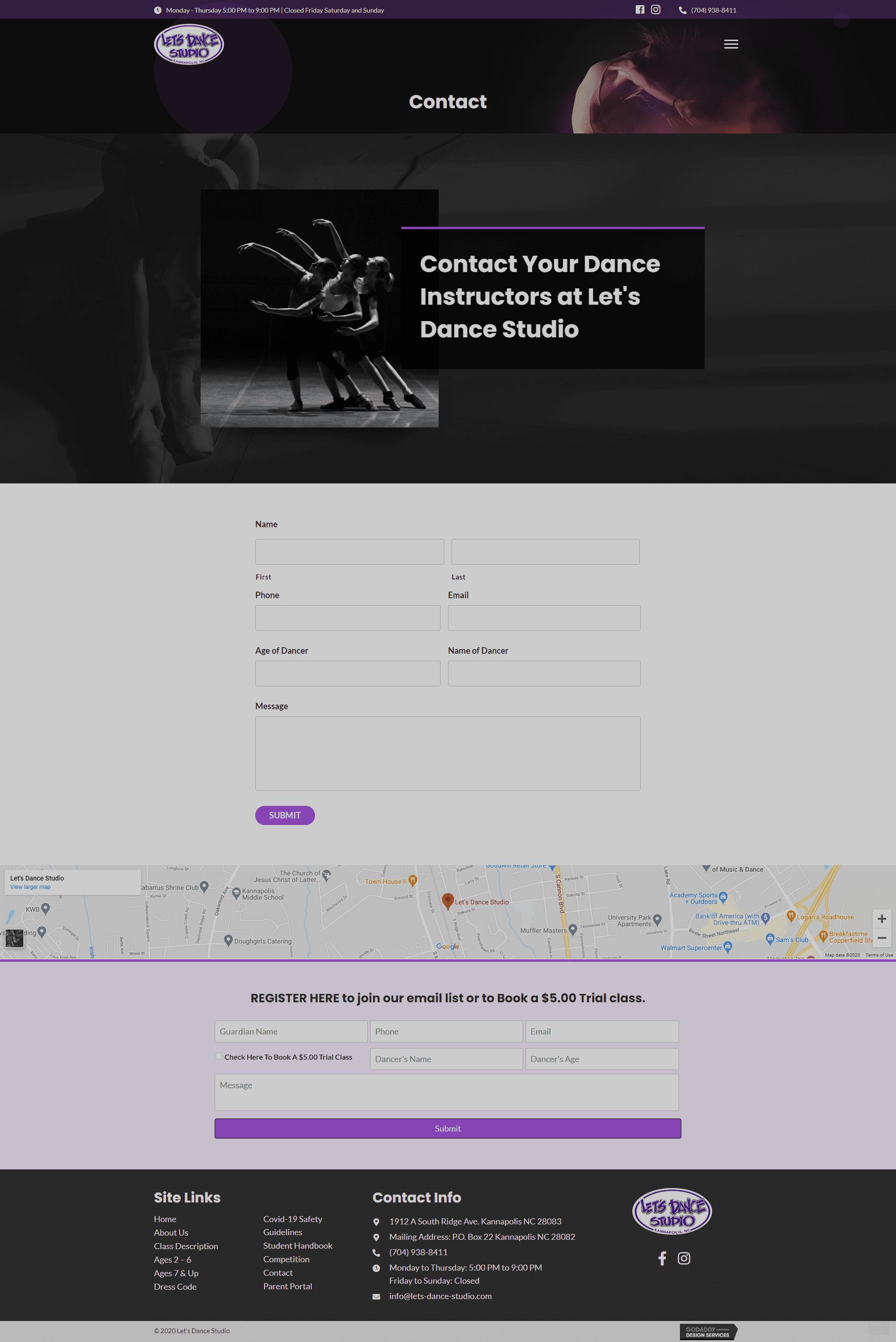 Let's Dance Studio Contact Page