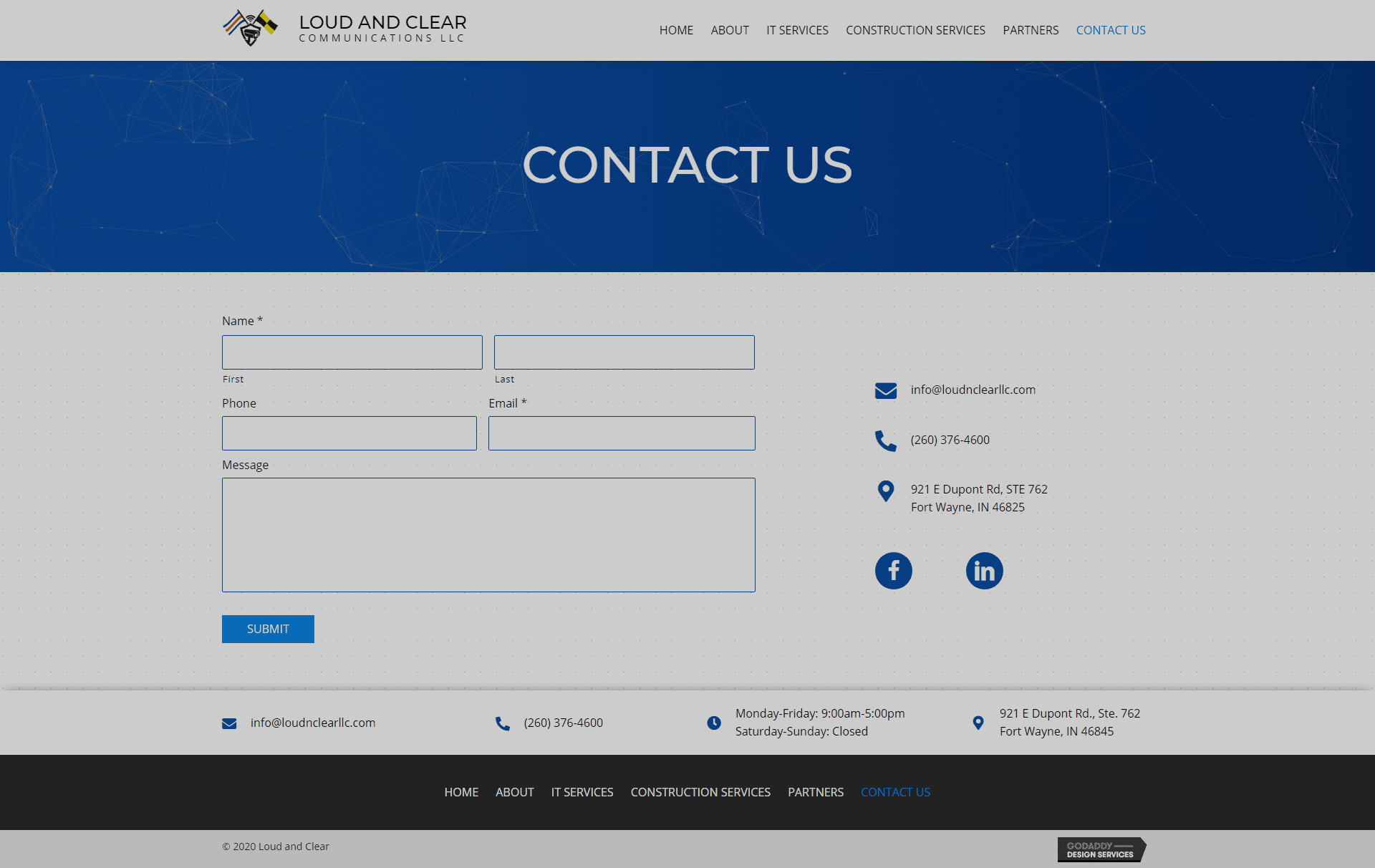 Loud and Clear LLC Contact Page