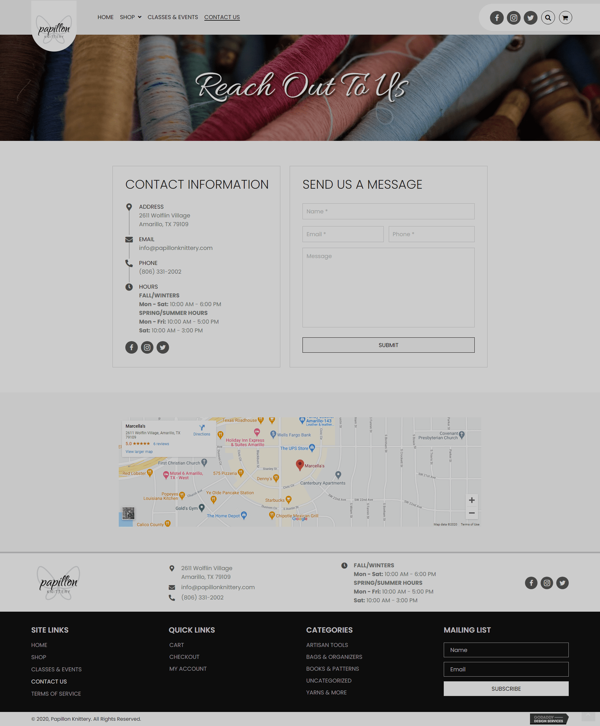 Papillon Knittery Contact Page