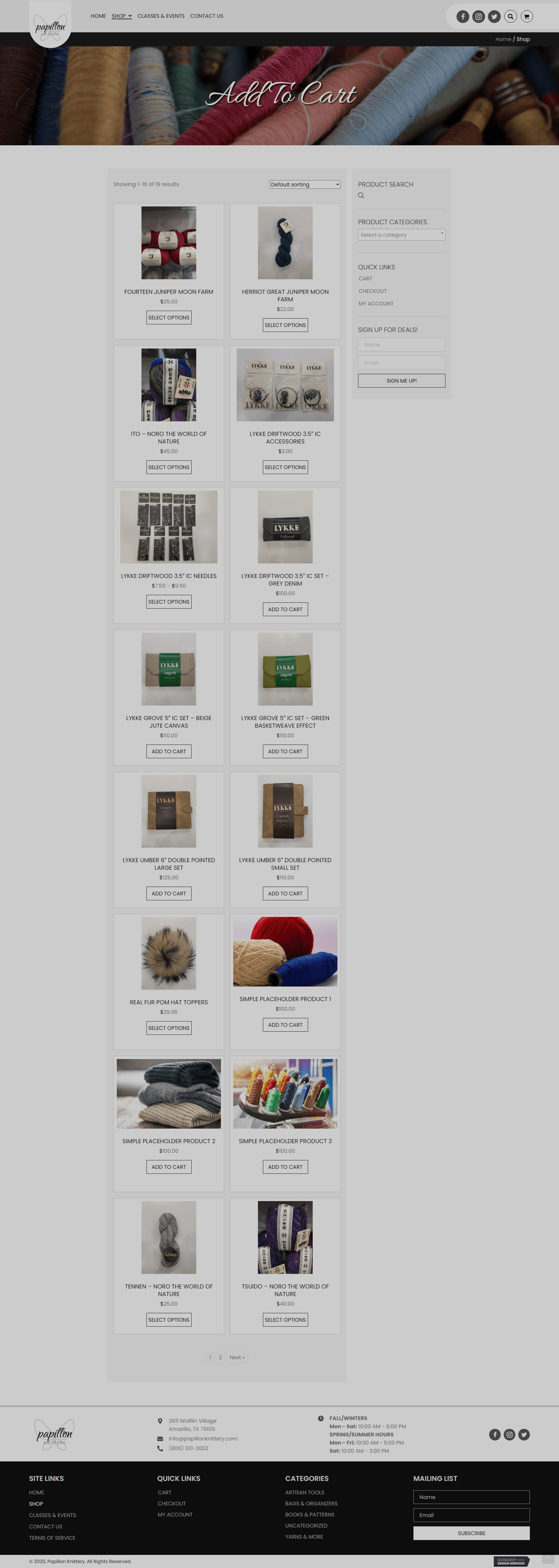 Papillon Knittery Shop Page