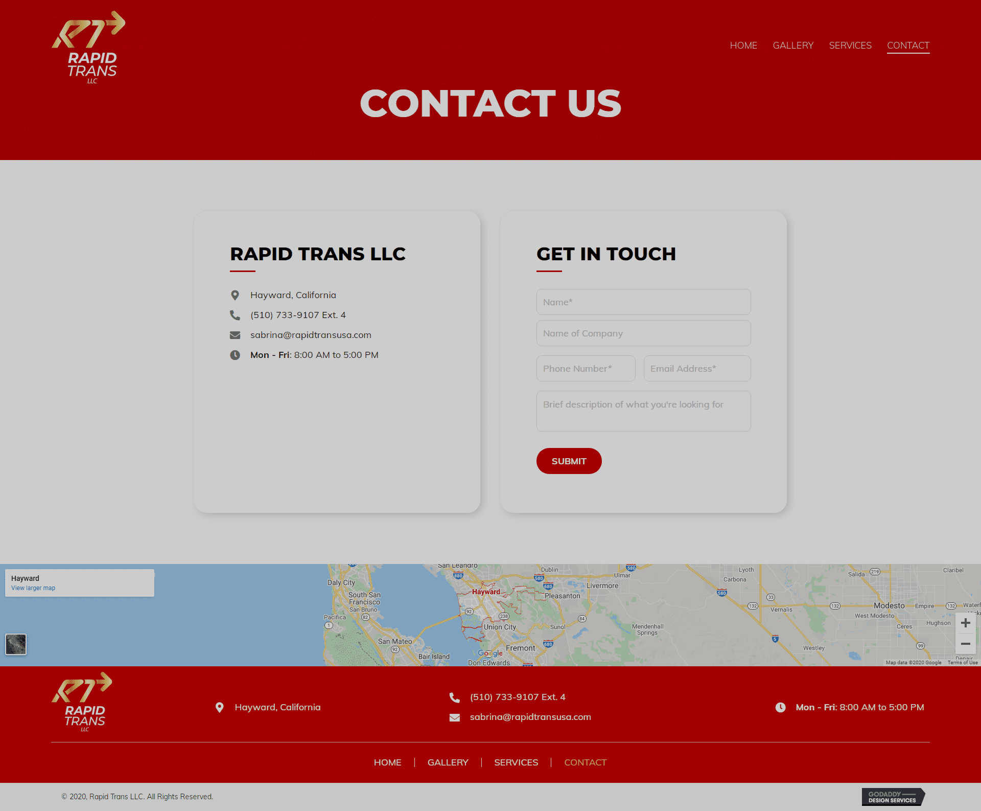 Rapid Trans LLC Contact Page