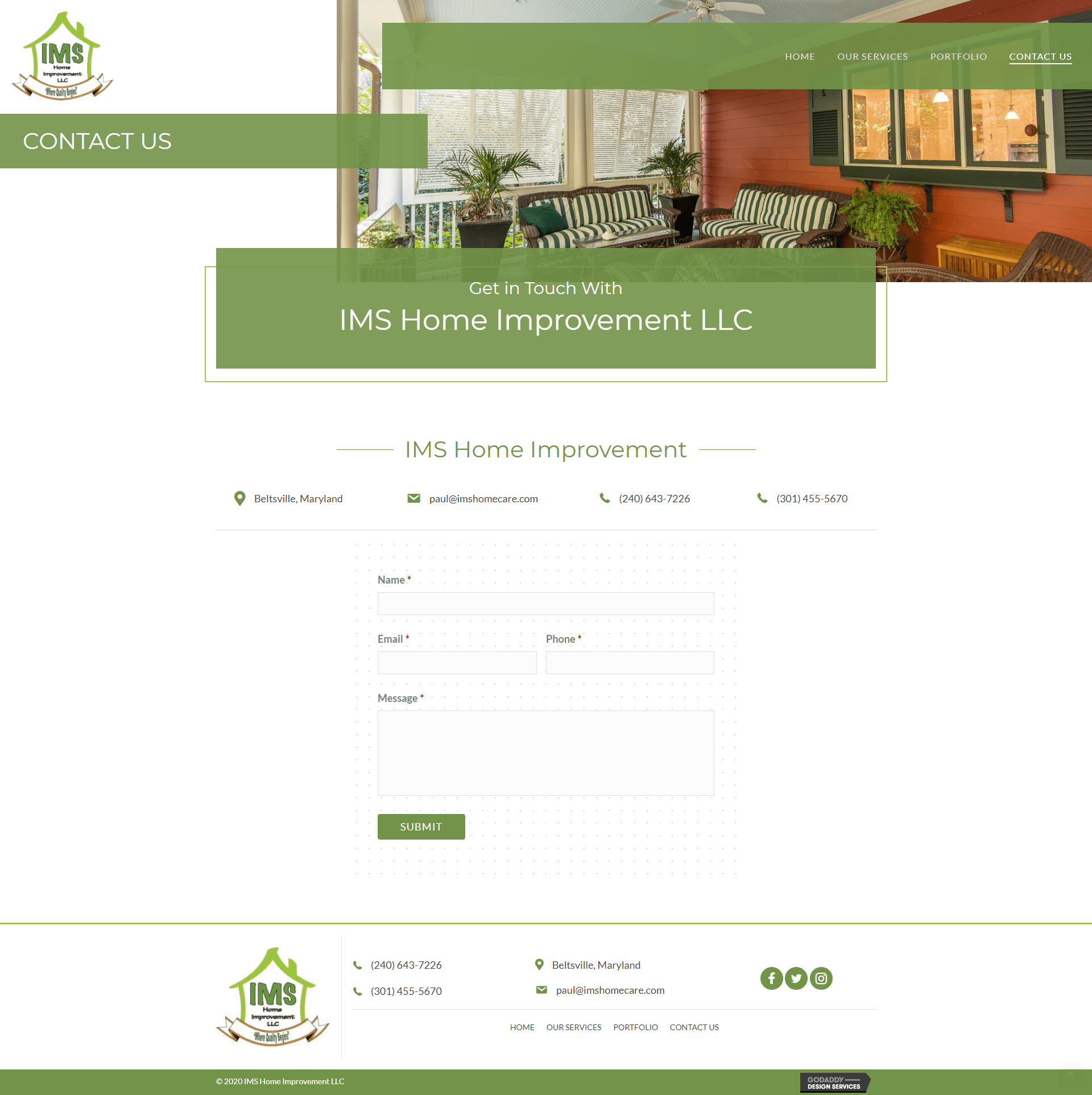IMS Home Improvement Contact Page