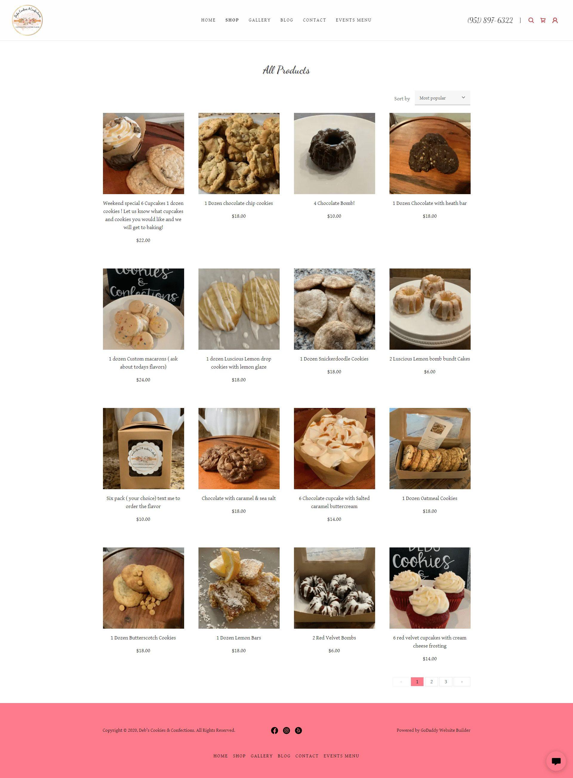 Deb's Cookies & Confections Shop Page