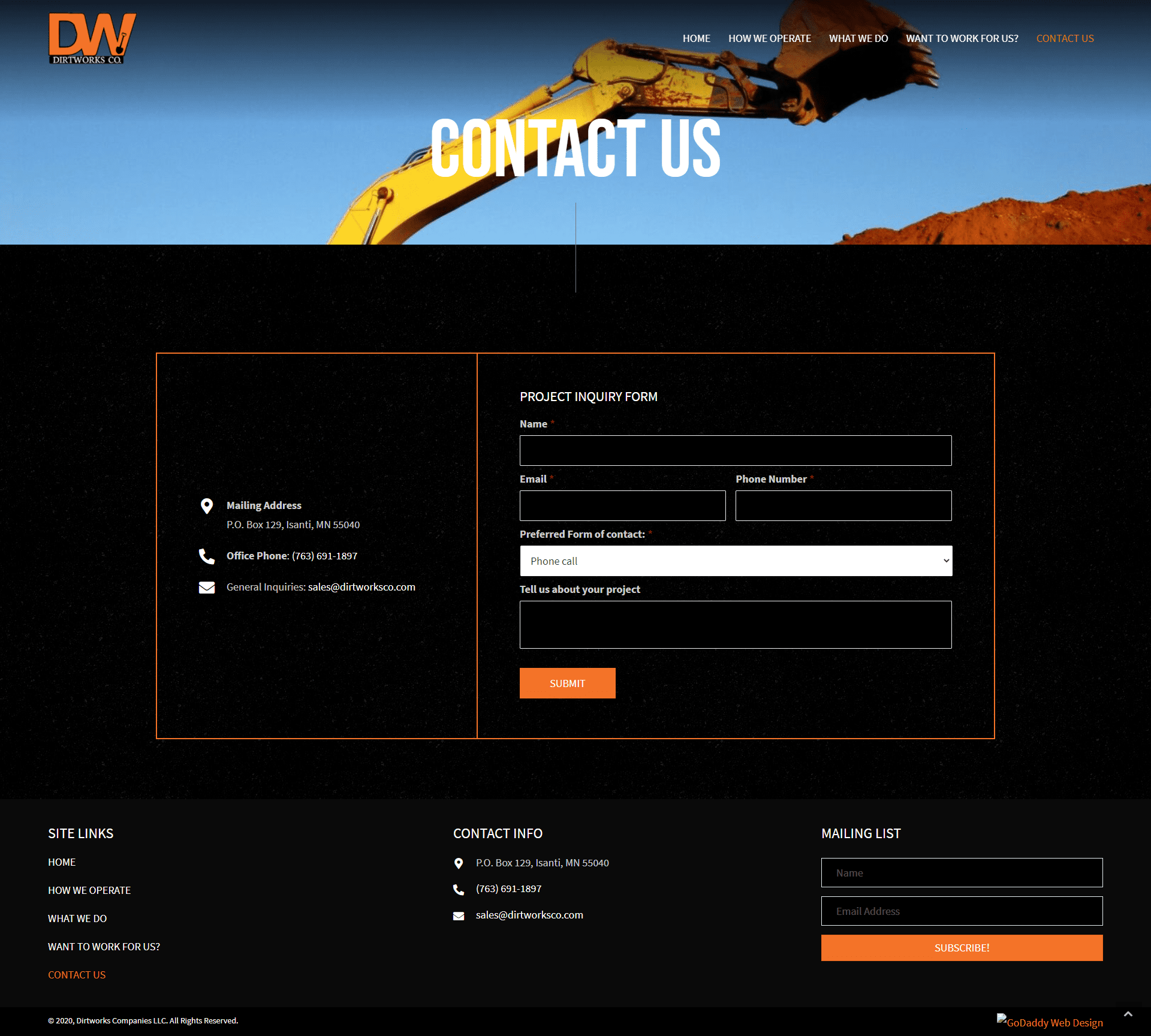 Dirtworks Company's LLC Contact Page