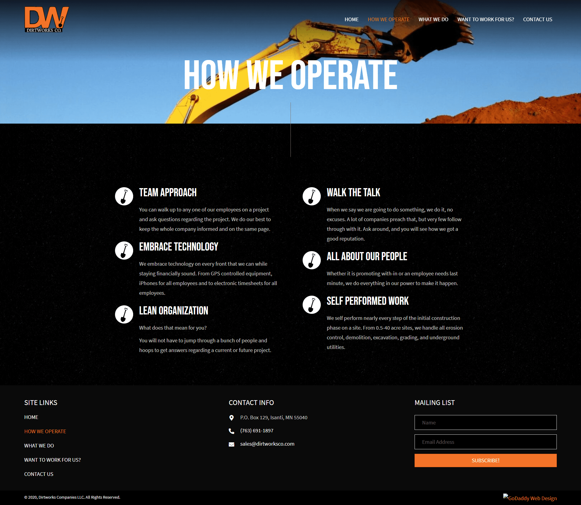 Dirtworks Company's LLC How We Operate Page