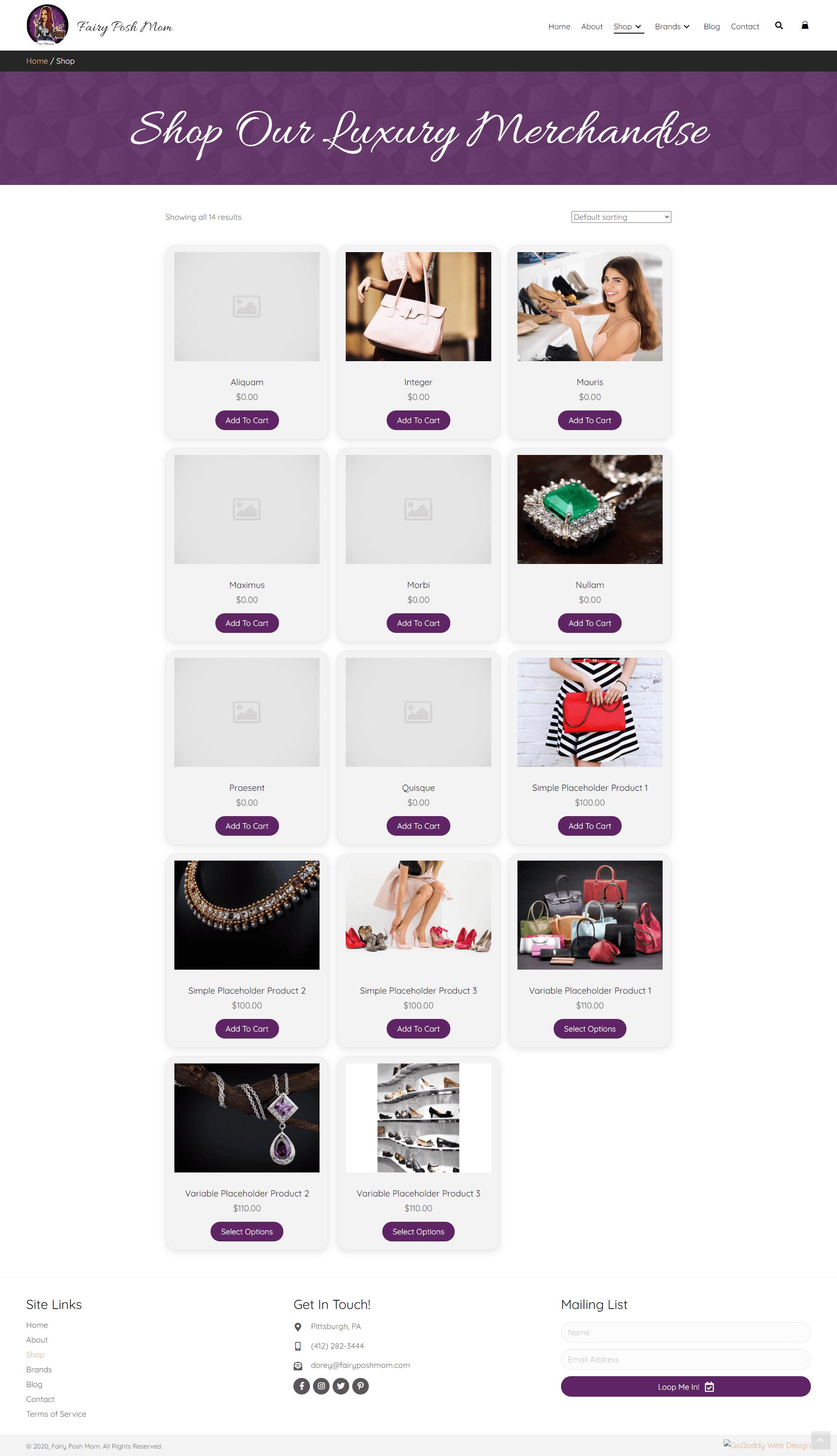 Fairy Posh Mom Shop Page