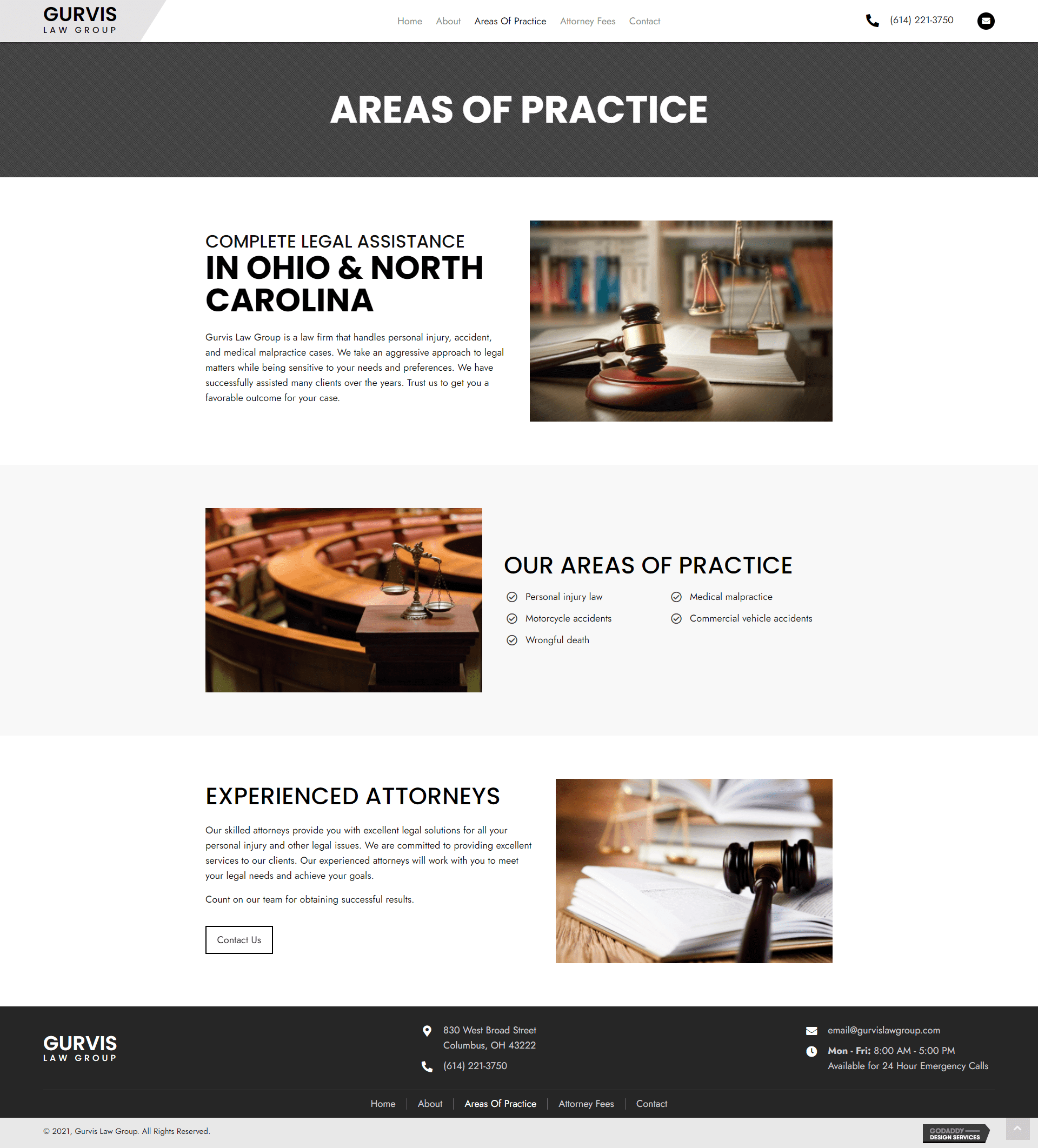 Gurvis Law Group Areas of practice page