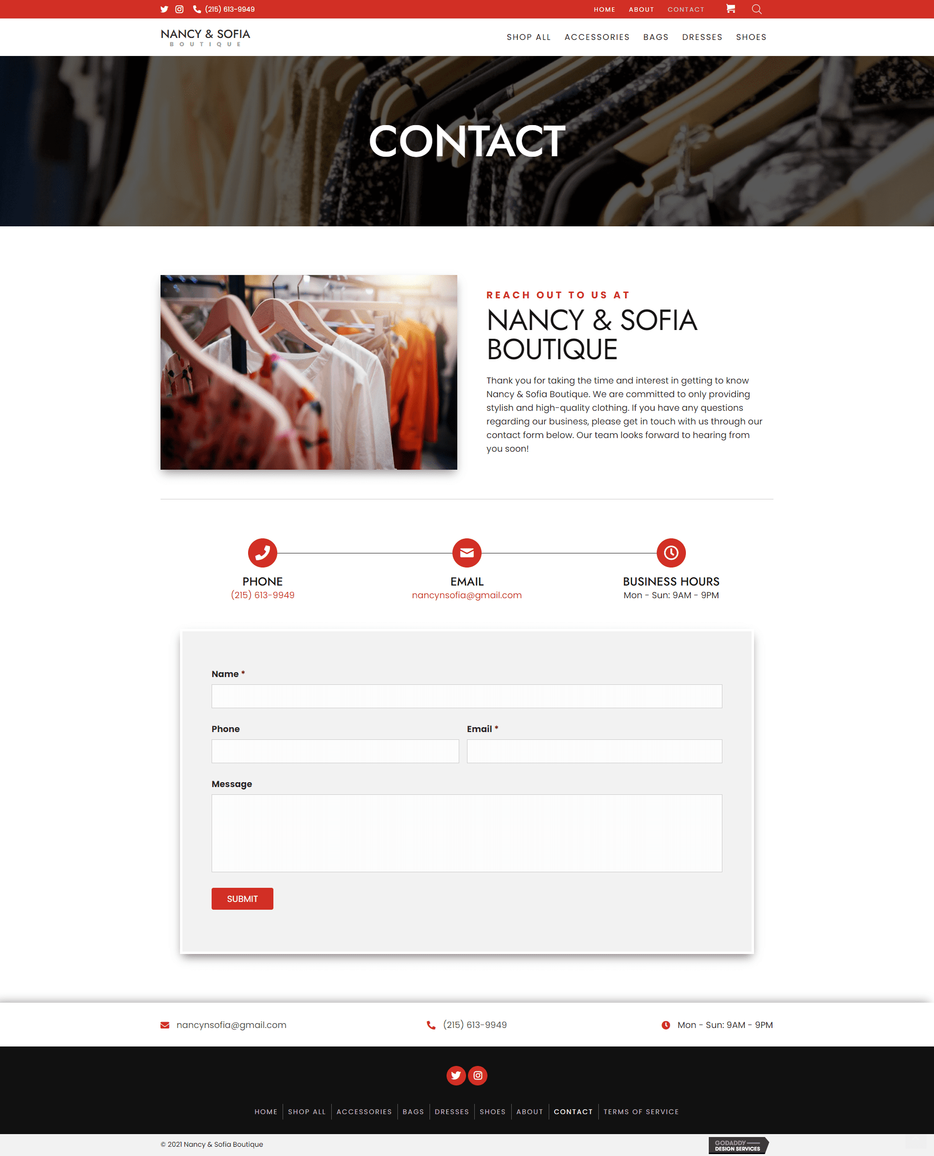 Nancy & Sofia Boutique Contact Page
