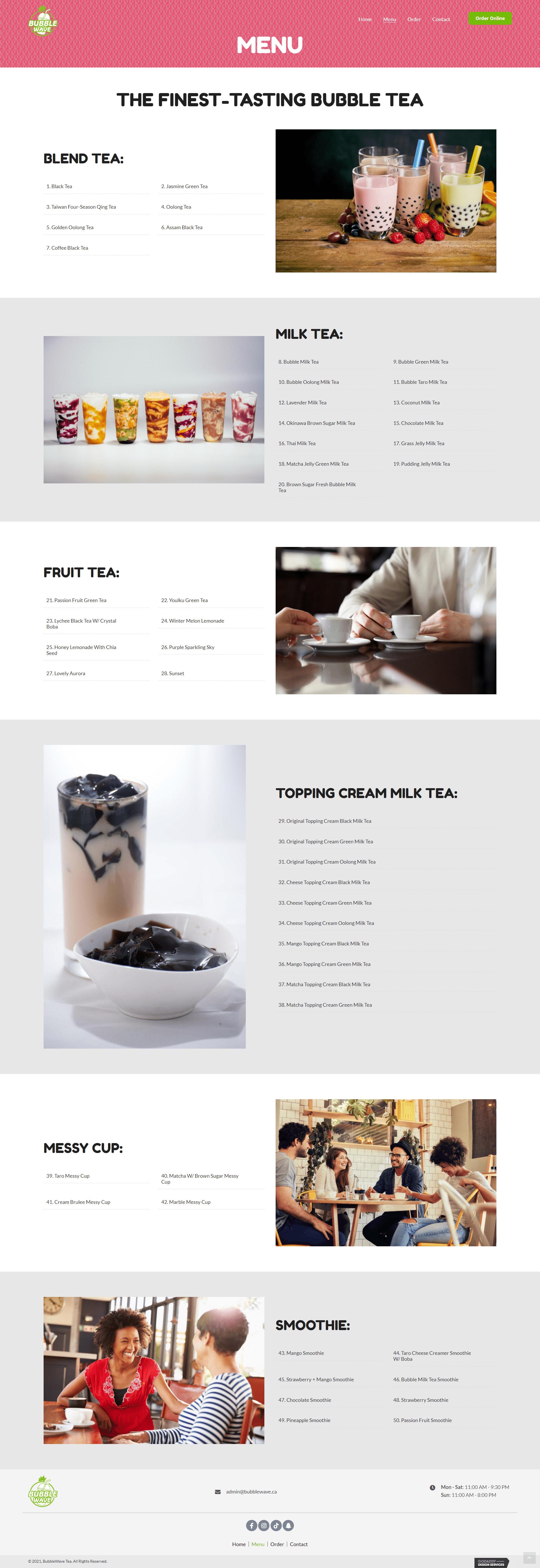 BubbleWave Tea Menu