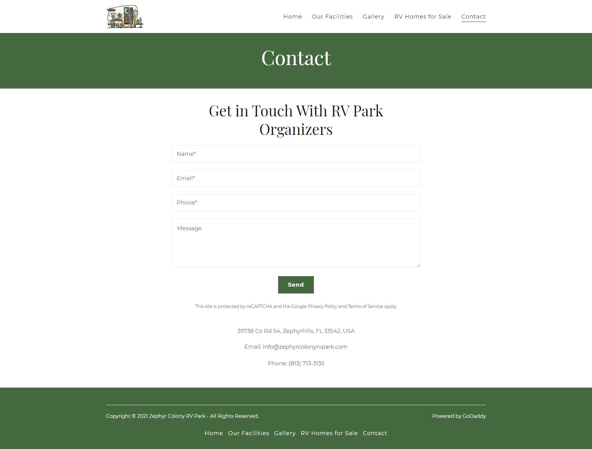 Zephyr Colony RV Park Contact