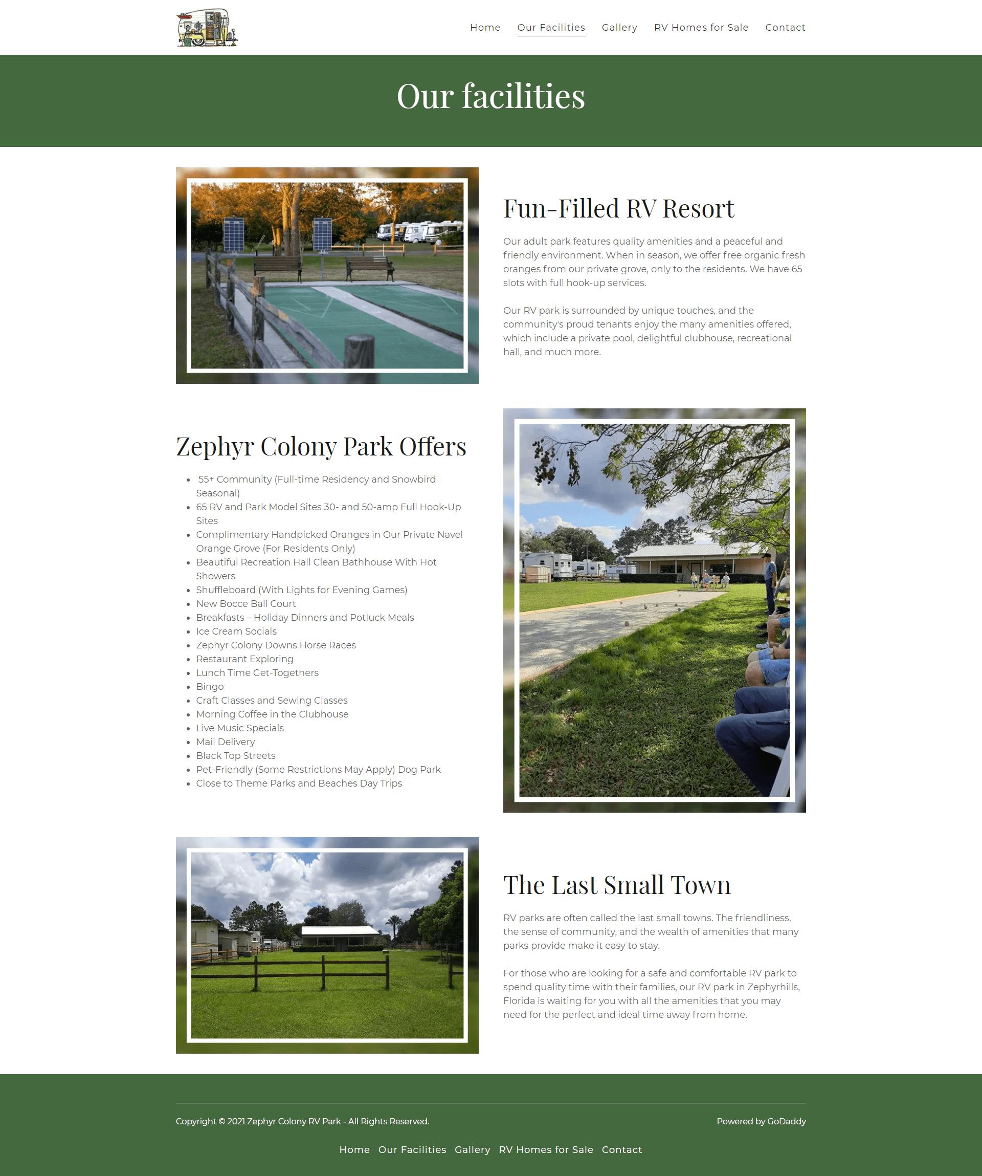 Zephyr Colony RV Park Facilities page