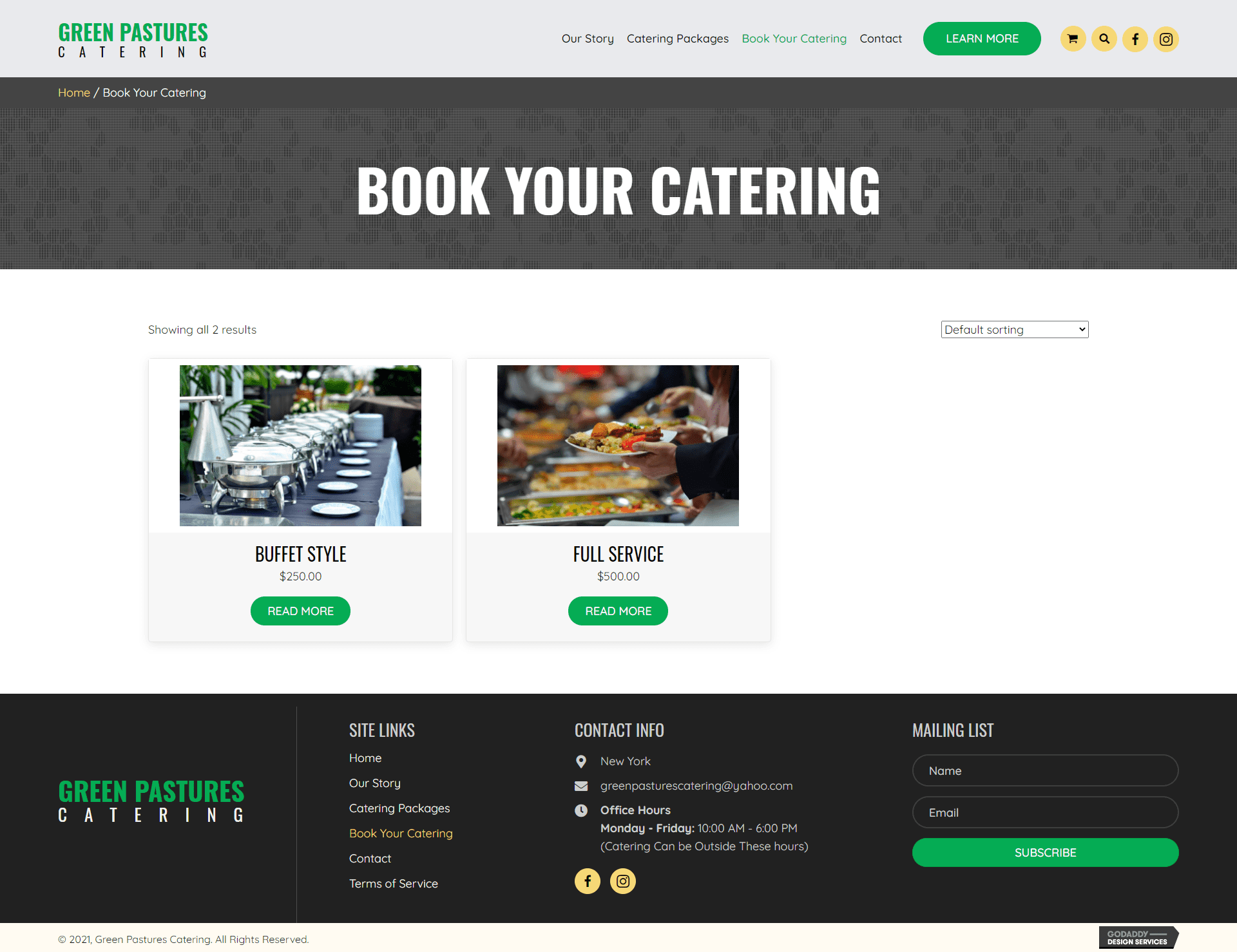 Green Pastures Catering Booking