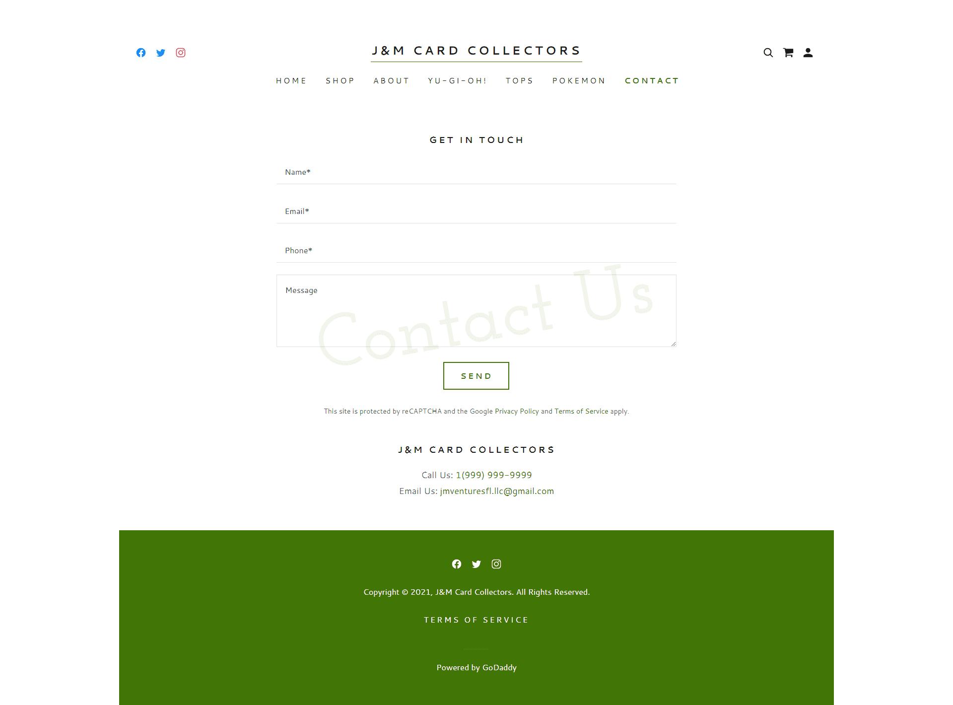 J&M Card Collectors Contact