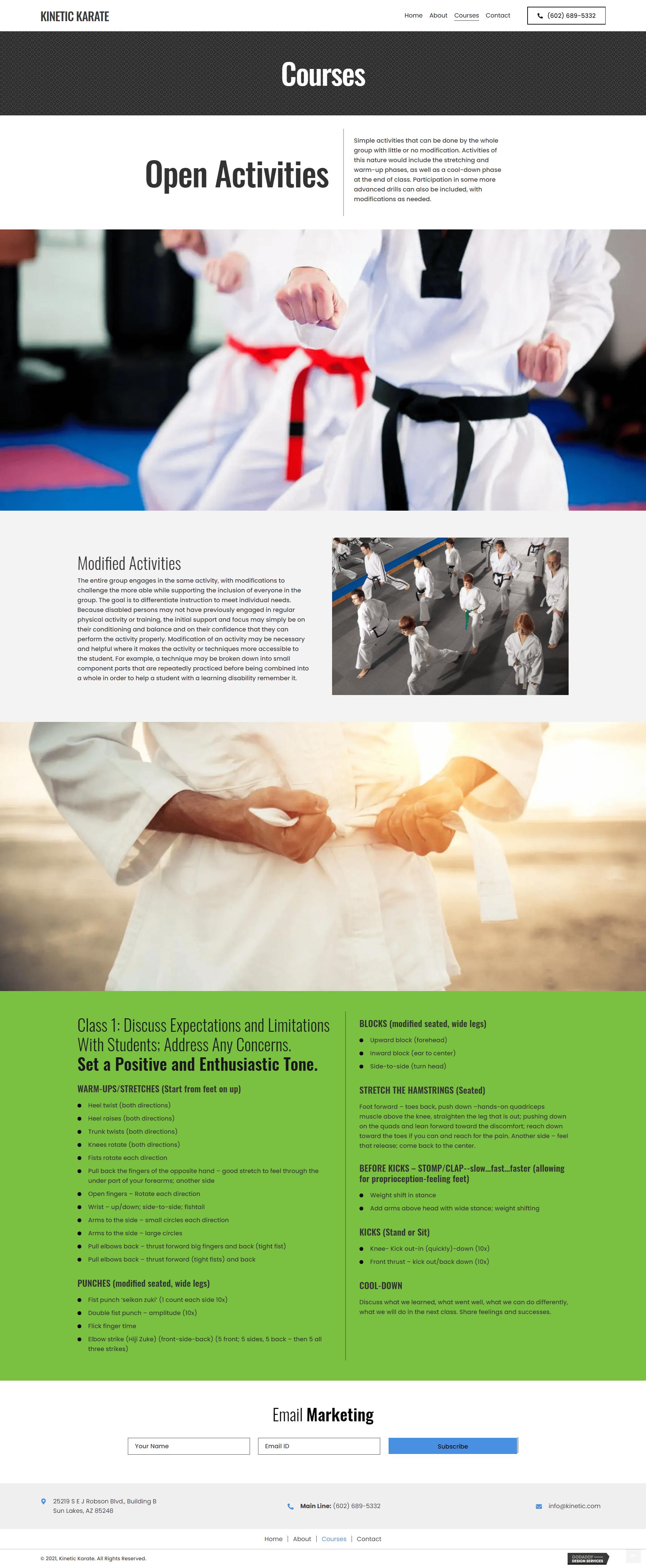 Kinetic Karate Courses