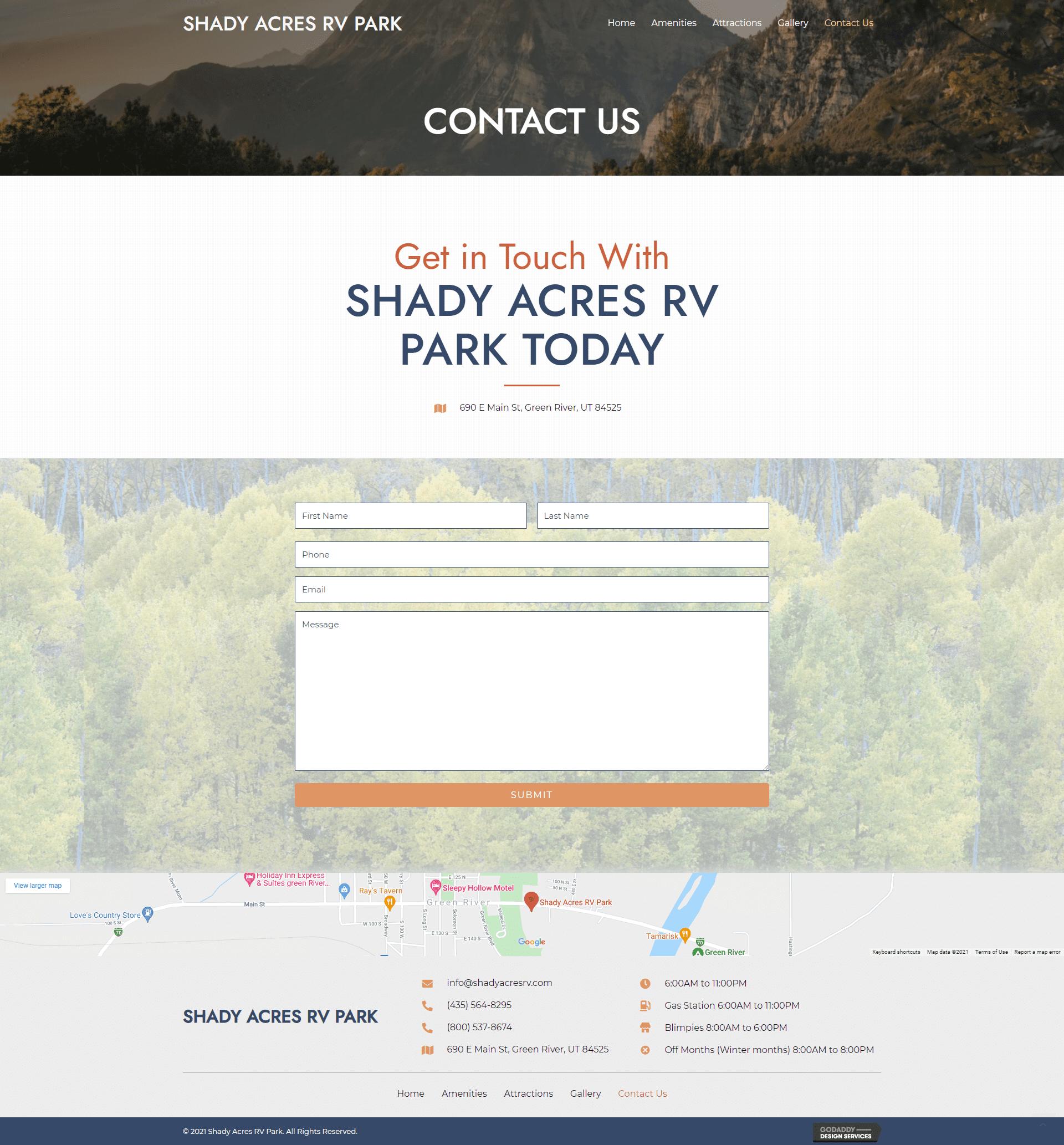 Shady Acres RV Park Contact