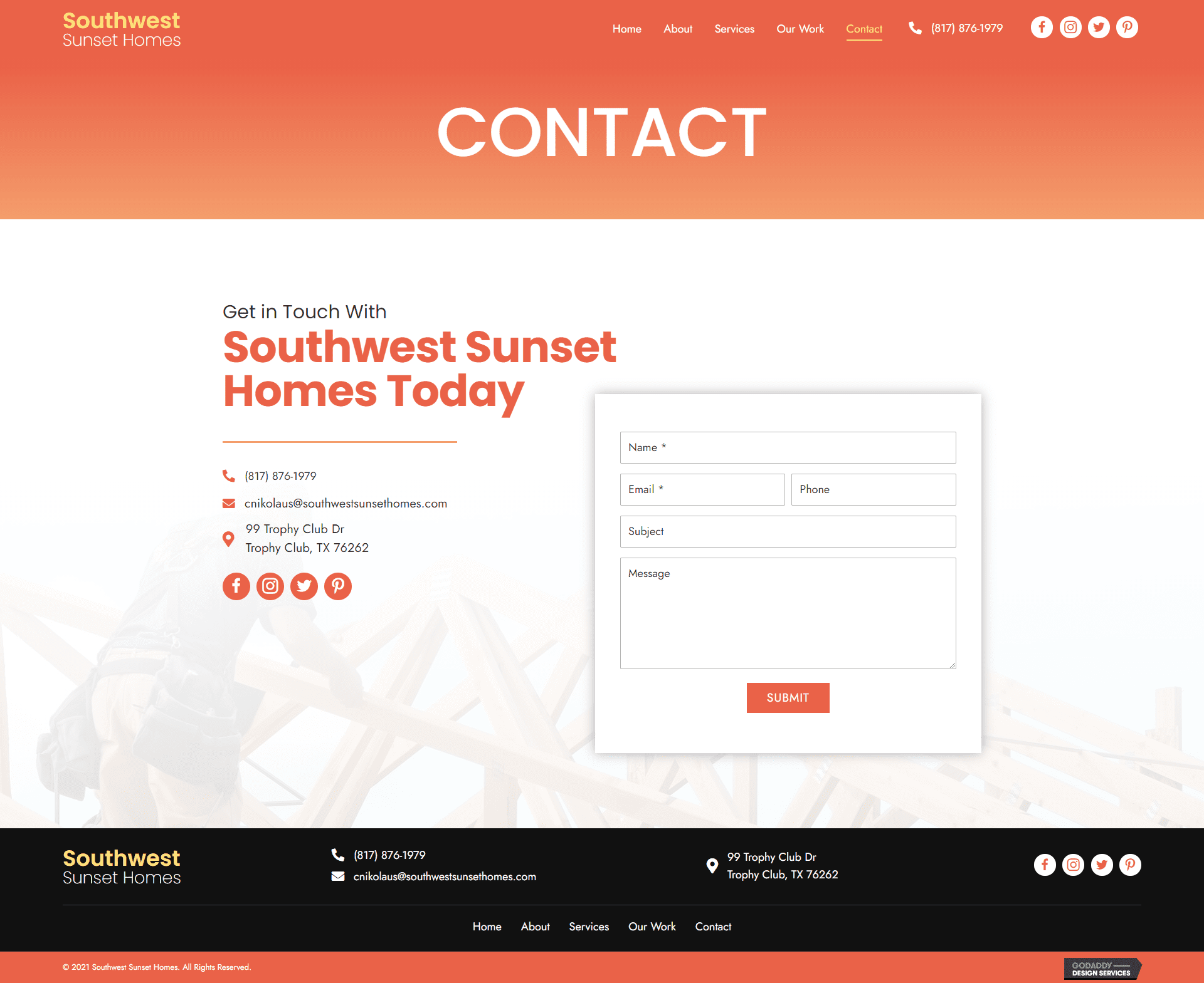 Southwest Sunset Homes Contact